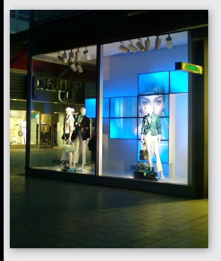 German store window with video wall